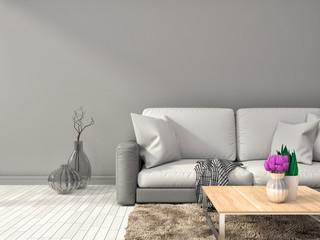 interior with white sofa. 3d illustration