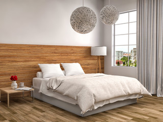 bedroom with wood trim.3d illustration