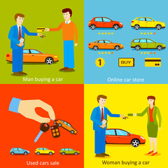 Man buying a car, Woman buying a car, Online car store, Used