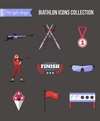 Biathlon icons set. Flat style design. Target, ski, gun, woman