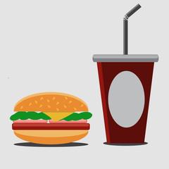 Hamburger and soda.Vector illustration.