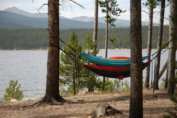 hammock at lake in mountains