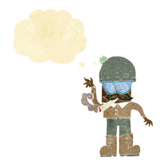 cartoon man smoking pot with thought bubble