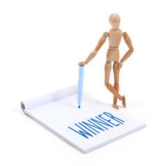 Wooden mannequin writing - Winner