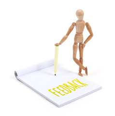 Wooden mannequin writing - Feedback