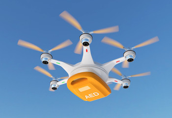 Ambulance drone delivers AED kit for emergency medical care concept.