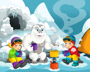 Cartoon alpinists - illustration for the children
