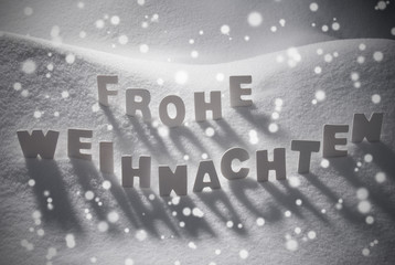 White Frohe Weihnachten Mean Merry Christmas On Snow, Snowflakes