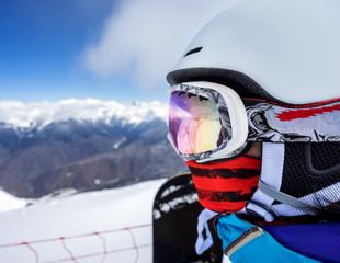 Portrait of woman snowboarder
