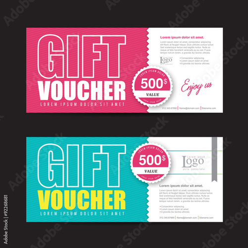 gift voucher template with colorful pattern cute gift voucher