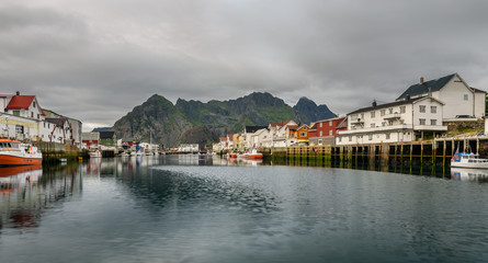 Wall Mural - Henningsvaer,  fishing village  in the Lofoten archipelago, Norw