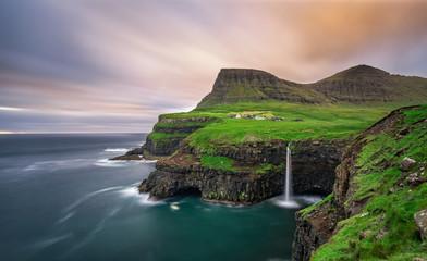 Wall Mural - Gasadalur village and its waterfall, Faroe Islands, Denmark