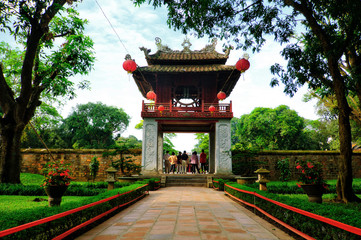 One of the gates at the Temple of Literature, Van Mieu, in Hanoi, Vietnam