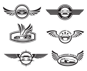 collection of six monochrome car labels with wings