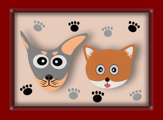 Dog and Cat in picture frame, Illustration