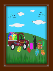 Easter Bunny and Easter eggs in picture frame, illustration