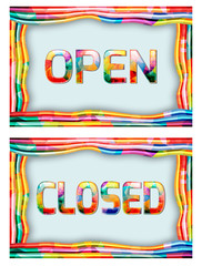 Open and Closed Sign.Vector illustration in vibrant colors.
