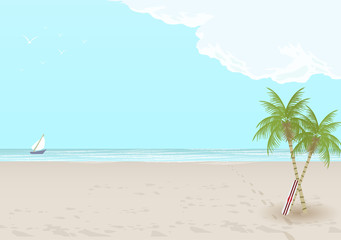 Retro Style Summer Beach Sunset Background - Vector Illustration