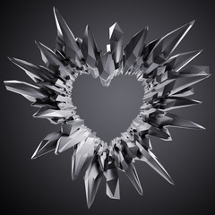 3d black crystal heart illustration, crystallized object, abstract shape