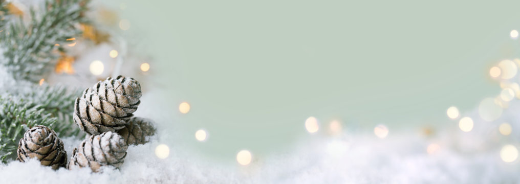 Christmas background  - snow landscape with sparkling lights