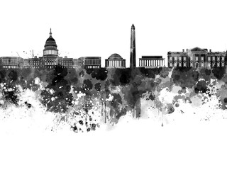 Washington DC skyline in black watercolor