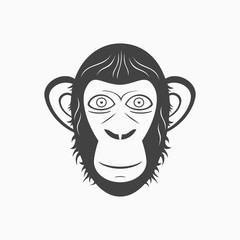 Monkey head monochrome vector illustration. Front face.