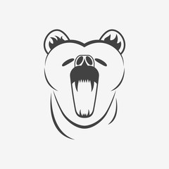 Bear head monochrome vector illustration