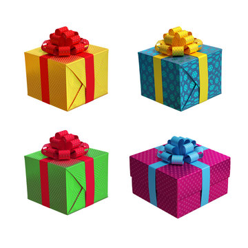 wrapped holiday gift boxes, 3d illustration isolated on white background