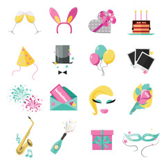 Holiday and party icons set with colorful balloons, cake
