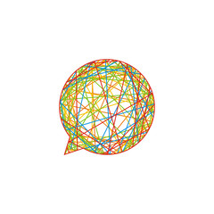 Chat Baloon in Rainbow Colors Line