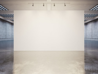 Mock up of empty canvas with white bricks. 3d render