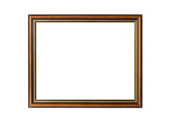 brown with gold inline Wooden frame cornice cutout on white background
