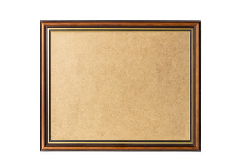brown with gold inline Wooden frame cornice with backing board cutout on white background