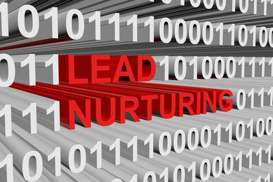 LEAD NURTURING is presented in the form of binary code