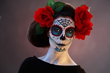 Portrait of woman at halloween