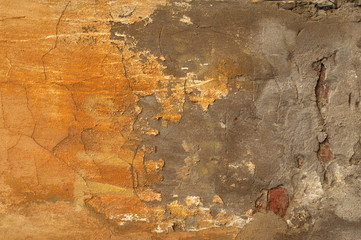 Poster de jardin Vieux mur texturé sale Texture of old wall covered with yellow stucco