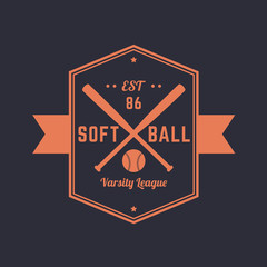 Softball vintage emblem, logo template, t-shirt design, vector illustration
