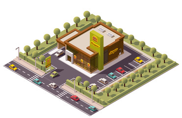 Vector isometric fast food restaurant