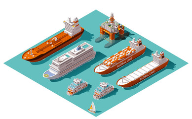 Vector isometric ships and oil rig