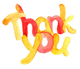 Watercolor typographic hand painted text Thank you, orange