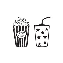 Popcorn and drink, isolated vector illustration. Cinema icons doodle