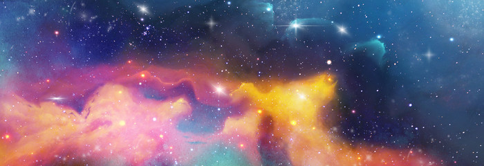 color space backround banner with star, nebula und galaxies