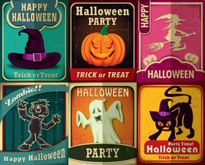 Vintage Halloween poster set design