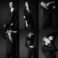 six image of the same fashion model in different poses