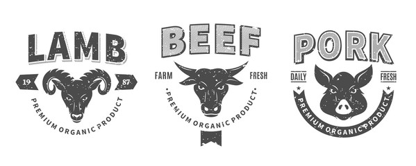 Butchery Logos, Labels, Farm Animals Icons and Design Elements