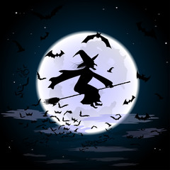 Silhouette of a witch flying on a broomstick across a full moon and a flock of bats at cloudy twilight for Halloween. Vector design