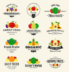 Fruits Logos, Labels and Design Elements