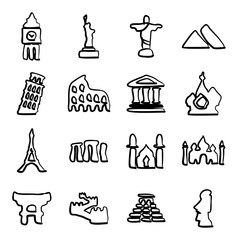 Landmarks Of The World Icons Freehand