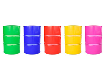Collection color of  metal barrel isolaled on white.