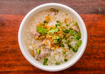 rice congee mixed with mea